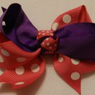 "4"" hot pink and purple double knot bow"
