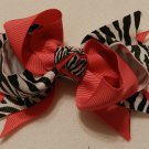 "4"" hot pink and zebra double knot bow"