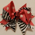 """4"""" hot pink polka dot and zebra double knot bow"""