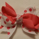 "4"" hot pink polka dot double knot bow"