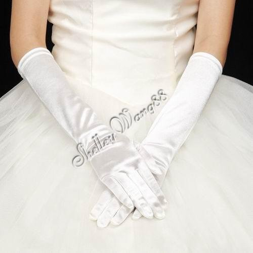 "16"" White Bridal Satin Gloves for Wedding Opera Prom Dress Suit Party Evening A0626-1"