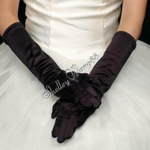 """16"""" Black Bridal Satin Gloves for Wedding Opera Prom Dress Suit Party Evening A0626-11"""