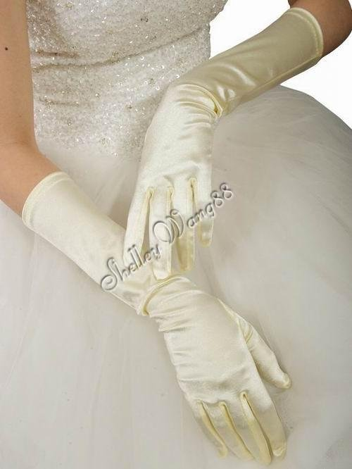 "16"" Ivory Bridal Satin Gloves for Wedding Opera Prom Dress Suit Party Evening A0626-2"