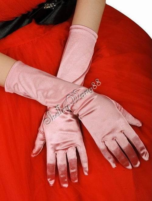 """16"""" Pink Bridal Satin Gloves for Wedding Opera Prom Dress Suit Party Evening A0626-3"""