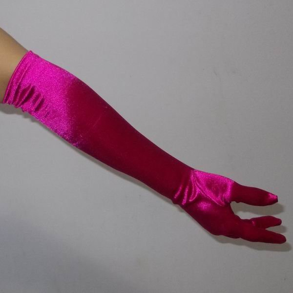 """16"""" Pink Bridal Satin Gloves for Wedding Opera Prom Dress Suit Party Evening A0626-8"""
