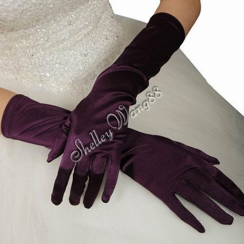 "16"" Purple Bridal Satin Gloves for Wedding Opera Prom Dress Suit Party Evening A0626-9"