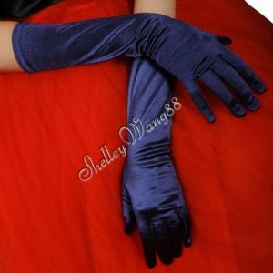 "16"" Dark Purple Bridal Satin Gloves for Wedding Opera Prom Dress Suit Party Evening A0626-10"