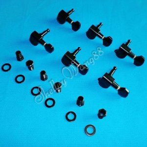6 Black Inline Guitar String Tuning Peg Machine Head Right Handed 10186