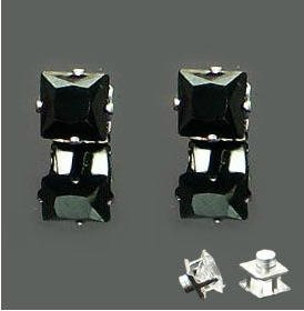 A Pair of New Mens Magnetic Earring Ear Stud Stainless Steel Square Black Onyx 6mm  YL847