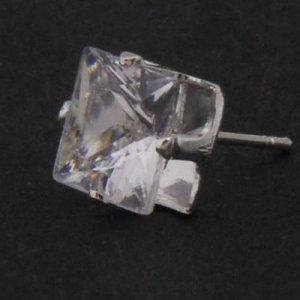 A Pair of Men Earring Ear Stud Stainless Steel White Onyx 5mm YL067-05