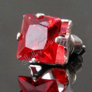 2x New Mens Earring Ear Stud Stainless Steel Square RED Onyx 8mm YL068-08