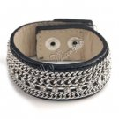 Black Unisex Leather Belt Wristband Cuff Bracelet Single Row CZ Crystals Chains A0747