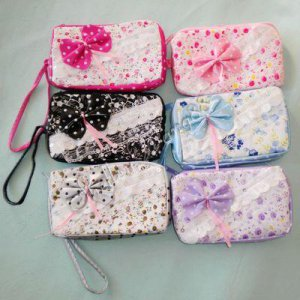 1 PCS Cute Coin Change Purse Bag Wallet with Bow Lace Flowers 10311