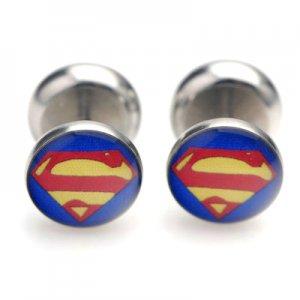 Pair Earring Resin Women Men Stainless Steel Ear Plug Stud Superman Round 10mm YL1082