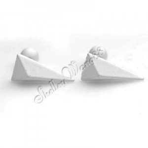 Pair of Mens Earring Ear Studs White Stainless Steel Pyramid Shaped YL1033
