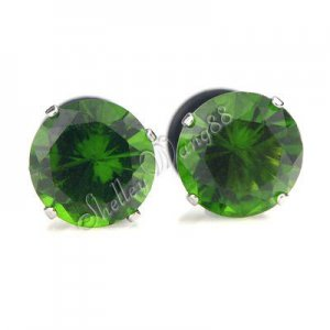 Pair Earring Stainless Steel Stud Plug Round Onyx Green 9mm YL947