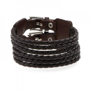 Unisex Leather Bracelet Belt Hippie Wristband Cuff Braid Brown A0290