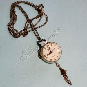 Antique Convex Mirror Eye Brone Quartz Pocket Clock Necklace Chain Pendant Watch A0852