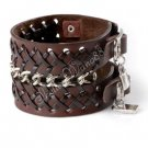 Cool Adjustable Fashion Women/Man Cuff Belt Buckle Leather Wristband Bracelet Brown A0139