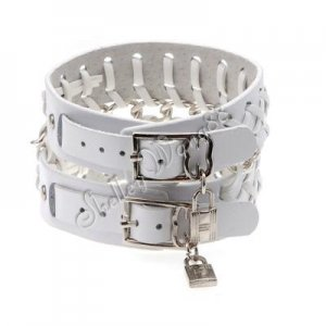 Cool Adjustable Fashion Women/Man Cuff Belt Buckle Leather Wristband Bracelet White A0250