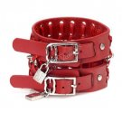 Cool Adjustable Fashion Women/Man Cuff Belt Buckle Leather Wristband Bracelet Red A0956