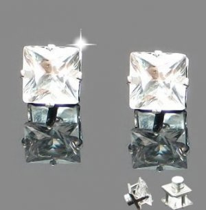 A Pair of New Mens Magnetic Earring Ear Stud Stainless Steel Square White Clear Onyx 6mm  YL850