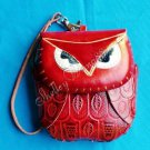 Handmade Owl Genuine Cattle Leather Coin Change Wristlet Purse Wallet Mini Bag Red 10329