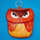 Handmade Owl Genuine Cattle Leather Coin Change Wristlet Purse Wallet Mini Bag Yellow 10329-01