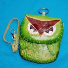 Handmade Owl Genuine Cattle Leather Coin Change Wristlet Purse Wallet Mini Bag Green 10329-02