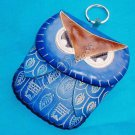 Handmade Owl Genuine Cattle Leather Coin Change Wristlet Purse Wallet Mini Bag Blue 10329-03