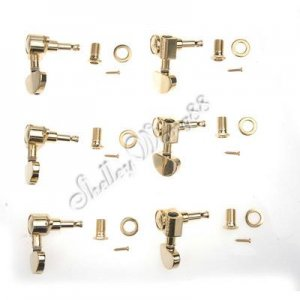 Gold Plated Guitar Deluxe Tuning Pegs Machine Heads Set 6 Replacement for Grover 3R3L A0233