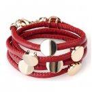 Nice Women Men Red Leather Wristband Cuff Belt Bracelet Golden Studs Button A0842