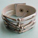 Nice Leather Belt Wristband Cuff Bracelet Buckle Grey A0518