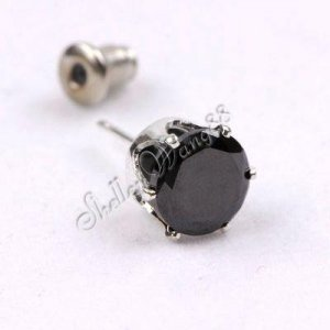 One Paire of Earring Ear Stud Stainless Steel Round BLACK Round CZ 7mm YL264-07