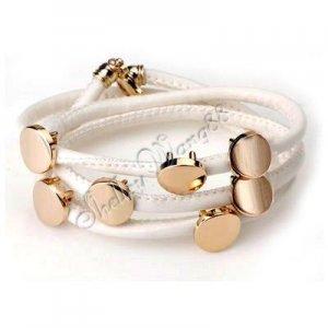 Fashion White Leather Wristband Cuff Belt Bracelet Golden Studs A0844