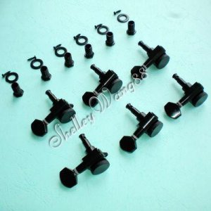 Locking Tuners Tuning Pegs Machine Heads Fits Ibanez 6 Left Handed Inline Black(6L) A0380