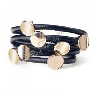 Fashion Black Leather Wristband Cuff Belt Bracelet Golden Studs A0843