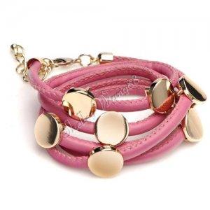 Fashion Pink Leather Wristband Cuff Belt Bracelet Golden Studs A1022
