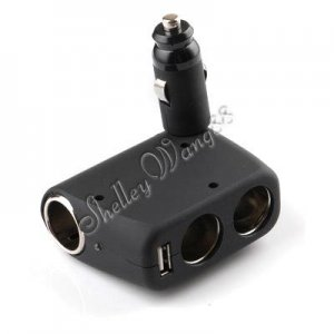 12V 3 Way Socket Car Cigar Lighter Splitter /w 1 USB Port A0108