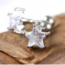 Pair of Men/Women Earring Ear Studs Stainless Steel White Star Shaped CZ Crystal Fake Plug YL578