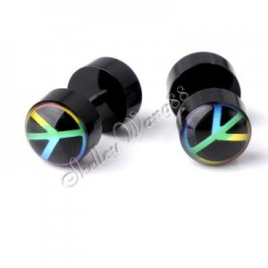 2x Earring Acrylic Stud Stainless Steel Plug Peace New YL740