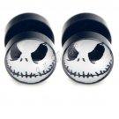 2x Earring Stud Stainless Steel Ear Plug Halloween Jack Skellington Nightmare 10mm YL1225