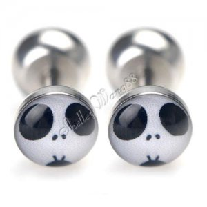 2x Earring Stud Stainless Steel Plug Nightmare Before Christmas Jack Skellington YL1159