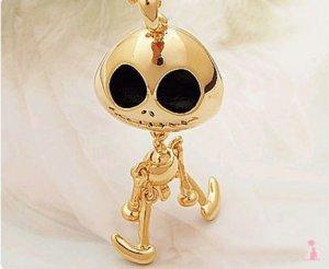 Gloden Sweater Chain Necklace Nightmare Before Xmas Jack Skellington UFO Skull 10277