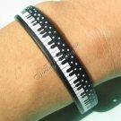 Silicone Black Rubber Bangle Elastic Belt Bracelet Piano Keyboard Music Stars A1265