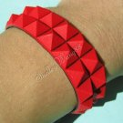 New Silicone Black Rubber Bangle Elastic Belt Bracelet Buckle Pyramid Button Red A1242