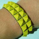 New Silicone Black Rubber Bangle Elastic Belt Bracelet Buckle Pyramid Button Yellow A1241