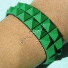 New Silicone Black Rubber Bangle Elastic Belt Bracelet Buckle Pyramid Button Green A1236