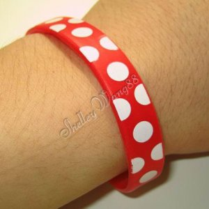 Cool Silicone Red Rubber Bangle Elastic Wristband Belt Bracelet Spot Dot White A1225