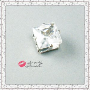 5mm White CZ Crystal Clear SQUARE Magnetic Earring STUD Ear plug Piercing-Free YL1214